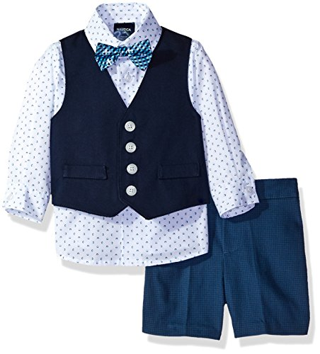Nautica Baby Boys' Woven Pique Vest, Shirt and Short Set with Bow Tie, Dark Blue, 3-6 Months