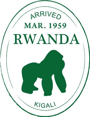 Rwanda Kigali Gorilla Travel Stamp Bumper Sticker Decal 4