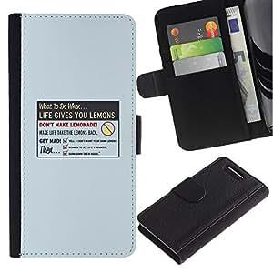 KLONGSHOP // Tirón de la caja Cartera de cuero con ranuras para tarjetas - La vida le da Limón - Sony Xperia Z3 Compact //