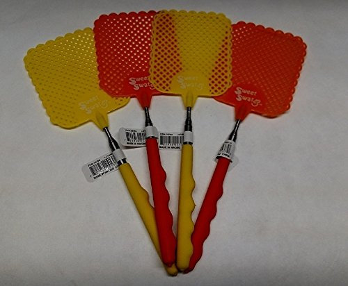 Sweet Swat Extendable Fly Swatter 4 Pack -Yellow Orange by sweet swat