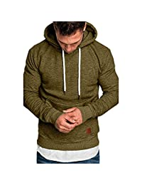AMOUSTORE Mens's Autumn Winter Solid Long Sleeve Hoodies Workout Slim Fit Hooded Sweatshirts Tracksuits Hoodie