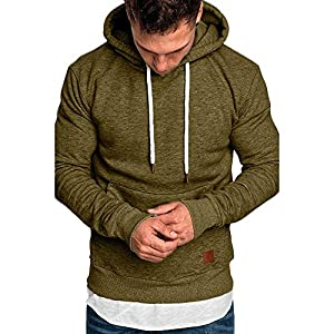 Men's Autumn Winter Sweatshirt Hoodies Hooded Top Blouse Tracksuits (L, Army Green)