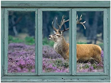 A red Deer in a Field of Purple Blooms - Stag with Large Antlers - Wall Mural, Removable Sticker, Home Decor - 24x32 inches