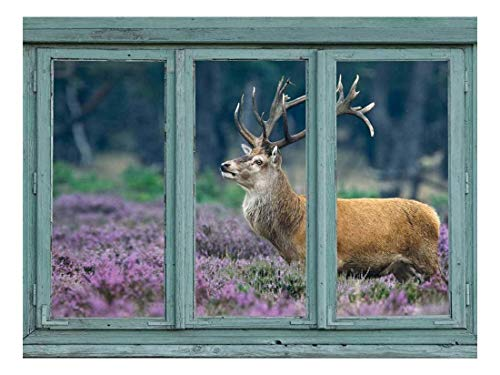 A red Deer in a Field of Purple Blooms Stag with Large Antlers Wall Mural