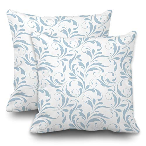 Batmerry Winter Pillow Covers 18x18 Inch Set of 2, Floral Delicate Blue Delicate Flowers Swirls White Bouquet Double Sided Decorative Pillows Cases Throw Pillows Covers