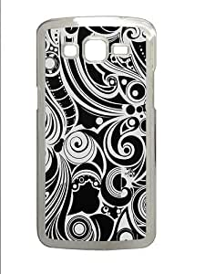 Black And White Swirls PC Case Cover for Samsung Grand 2 and Samsung Grand 7106 Transparent