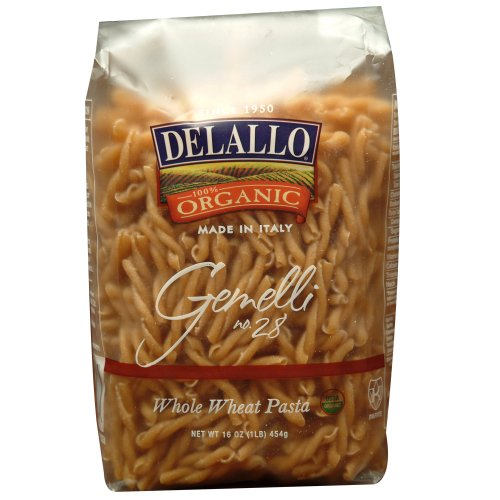 DeLallo Organic Whole Wheat Gemelli #28, 16-Ounce Units (Pack of 16) ()