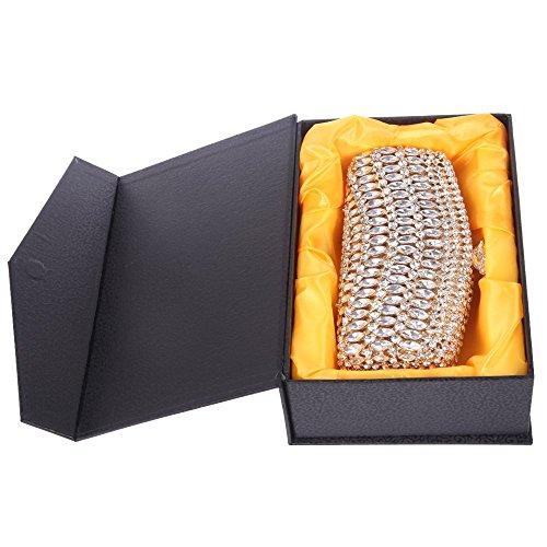 Damen Clutch Abendtasche Handtasche Geldbörse Luxus Glitzer Wellenform Tasche mit wechselbare Trageketten von Santimon(2 Kolorit) Gold i7n2LI