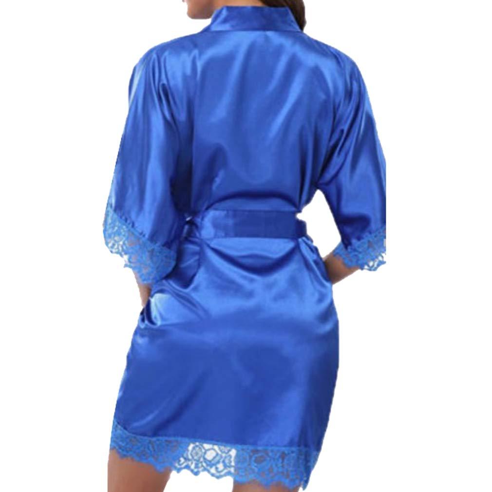 yunhou Moda Femenina Encaje Kimono De Seda Sexy Nightclothes Kimonos de Satén Bata De Baño para La Novia Vestido para la Boda Novia Fiesta: Amazon.es: Ropa ...