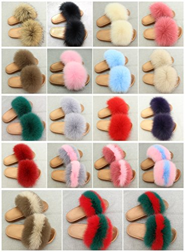 Slides For Qmfur Girls Wine Women Slippers Fashion Fur Real Summer Flat Soft Glod Shoes Fox Red qYwa7q