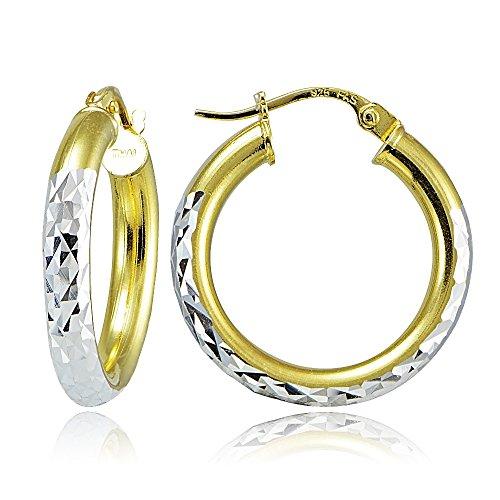 2 Tone Hoop Earrings - 6