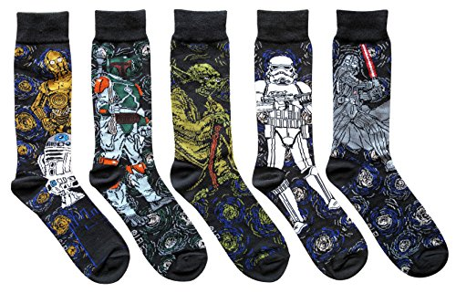 Star Wars Starry Night Themed Men's Crew Socks 5 Pair Pack Shoe Size -