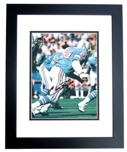 Elvin Bethea Signed - Autographed Houston Oilers 8x10 inch Photo BLACK CUSTOM FRAME - Hall of Famer