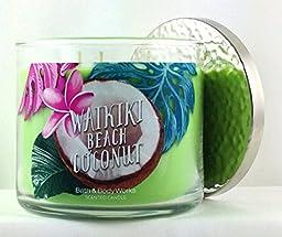 Bath & Body Works Candle 3 Wick 14.5 Ounce 2016 Waikiki Beach Coconut