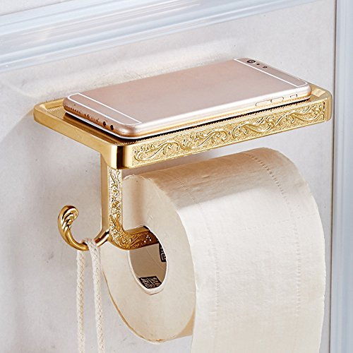 Leyden TM Luxury Zinc Alloy Toilet Paper Holder Wall Mount Bathroom Kitchen Roll Paper Tissure Rack and Hook, Gold by Leyden (Image #2)