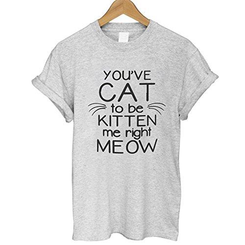 GARQEN Summer Harajuku Animal 3D DJ Cat Print Shirt O-Neck Short Sleeve T Shirt Women Tops Best T-Shirt GREY5 M