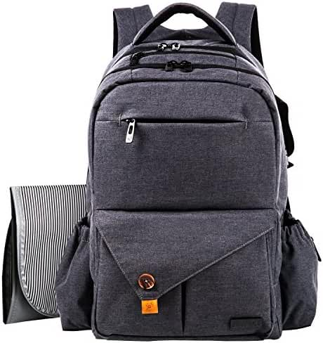 HapTim Multi-function Large Baby Diaper Bag Backpack W/Stroller Straps-Insulated Bottle Pockets-Changing Pad,Stylish & Durable with Anti-Water Material(Dark Gray-5284)