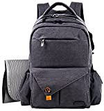 Hap Tim Multi-function Large Baby Diaper Bag Backpack W/Stroller Straps-Insulated Bottle Pockets-Changing Pad,High Quality Nylon Fabric Waterproof for Moms & Dads (5284 DarkGray)