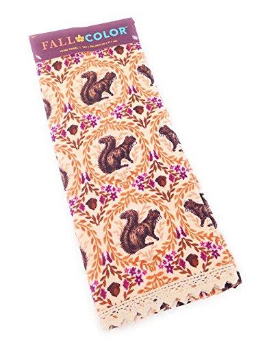 Caída en color Nutty – Ardilla de acción de gracias plato toalla con crochet encaje frontera