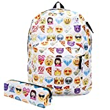 Koojooe Canvas Unisex Emoji School/Hiking/Travel/Camping/Laptop Backpack/Book Bags/Daypacks for Kids/Girls/Boys/Teenagers/Women(Free Pencil Bag) (White)