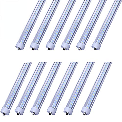 CNSUNWAY Lighting 8ft LED Tube, 96 45Watt T8 FA8 Single Pin LED Bulbs with Clean Cover, 4800LM Super Bright 6000K Cool White (12-Pack)