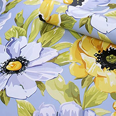 Self Adhesive Vinyl Vintage Sunflower Floral Contact Paper Shelf Drawer Liner Cabinets Dresser Sticker Decal 17.7x78.7 Inches