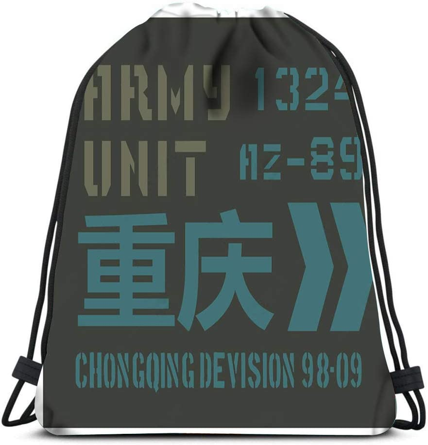 Drawstring Backpack Chongqing Military Plate Realistic Looking Military Chongqing Written Also Chinese Laundry Bag Gym Yoga Bag