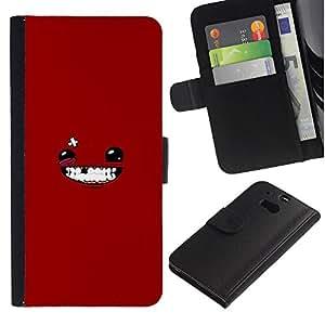 Stuss Case / Funda Carcasa PU de Cuero - Cara sonriente de Red - HTC One M8