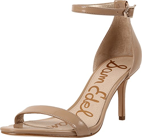 Sam Edelman Women's Patti Strappy Sandal Heel Classic Nude Patent 4 M US - Pump Suede May Brown