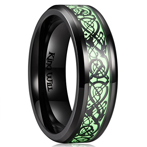 King Will DRAGON 7mm Black Celtic Dragon Luminou Glow Mens Titanium Wedding Ring Band 9