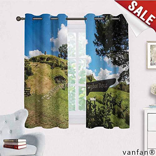 (Big datastore Patio Curtain Panel,Hobbits,Overhill Hobbit Village in Matamata New Zealand Fantasy Scene House Image Print,Set of 2 Pieces,Green Blue,W63 Xl45)