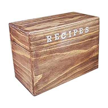 Stained Wood Recipe Box - Rustic Primitive 4 x 6 Recipe Cards