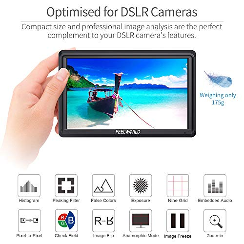 FEELWORLD FW568 5.5 inch DSLR Camera Field Monitor Video Peaking Focus Assist Small Full HD 1920x1080 IPS with 4K HDMI 8.4V DC Input Output Include Tilt Arm by FEELWORLD (Image #6)
