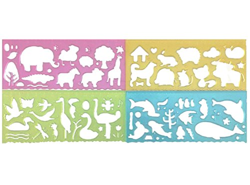 yueton 4pcs Colorful Transparent Plastic Animal Style Washable Drawing Painting Stencils Scale Template Ruler Sets for Kid Craft, School Project
