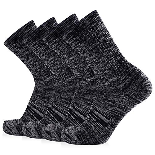 Journow Women's Extra Warm Merino Wool Micro Crew Cushion Socks 4 Pairs (9-11, Dark Gray)