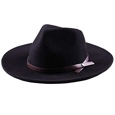 Western Cowboy Hat-Wool Fedora Felt Hats Men Women Crushable Wide Brim  Trilby (M b1800104f77