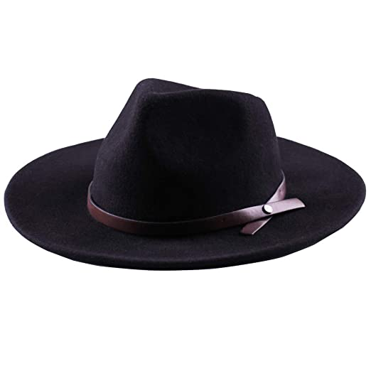 94a0d60fae9 Western Cowboy Hat-Wool Fedora Felt Hats Men Women Crushable Wide Brim  Trilby (M