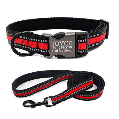 Reflective Personalized Dog Collar, Custom Engraving Dog's Name or Phone Number on The Quick Release Buckle, Matching Dog Leash Set Available Separately, Fit Small Medium Large Dog (Red)