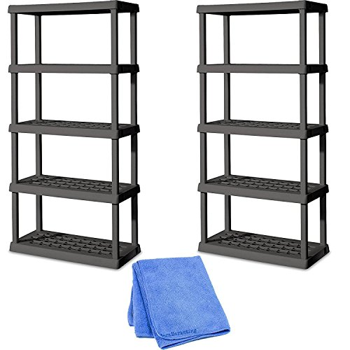 Sterilite 01553V01 5 Shelf Unit, Flat Gray Shelves & Legs, 2-Pack with Dusting Cloth by STÈRILITE