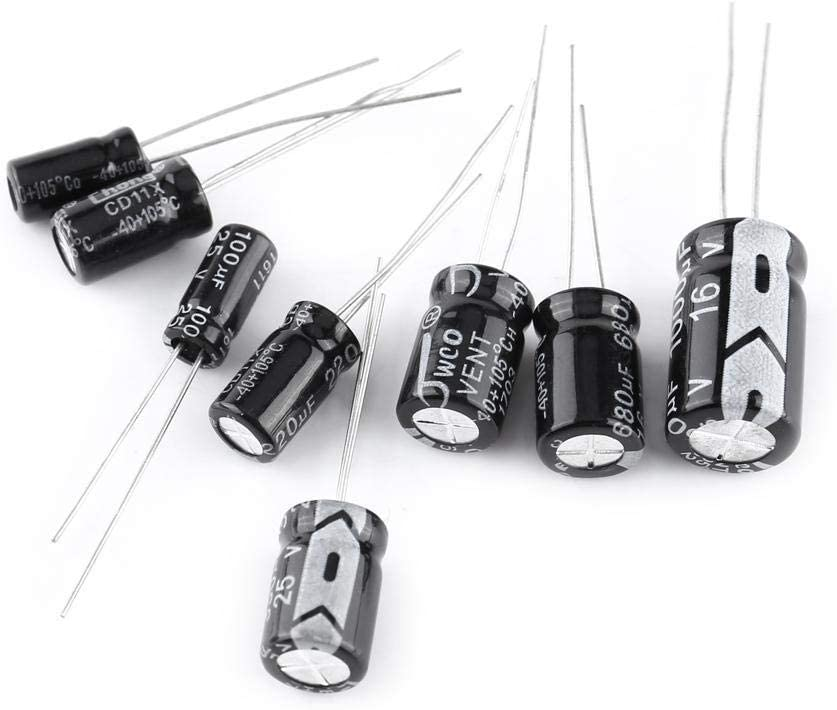 Aluminum Electrolytic Capacitor Electrolytic Capacitor Assorted Kit for All Kinds of Electronic Applications,DIY,10V~50V 0.1Uf to 1000Uf 500Pcs Electrolytic Capacitor