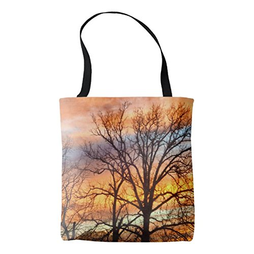 Sunset Linen - Women's Winter Sunset Cotton Linen Tote Bag 18 x 18 Inch Durable Shopping Bag