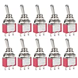 DIYhz Toggle Switch AC 5A/125V 3A/250V 3 Pin Terminals On/Off/On 2 Position DPDT Toggle Switch Mini Miniature Toggle Switch Car Dash Dashboard,10Pcs