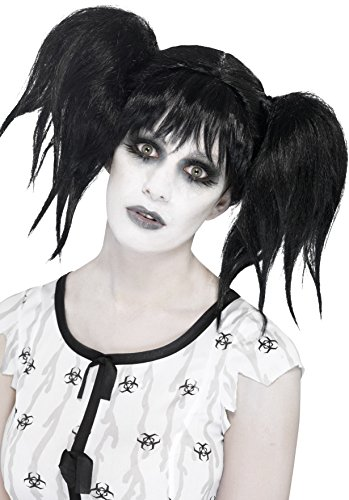 Smiffy's Women's Looney Black Wig with High Pigtails and Bangs, Crazy Hair, One Size, Abby Normal (Costumes With Pigtails)
