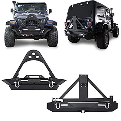 "u-Box Stinger Front Bumper & Rear Bumper w/Tire Carrier & 2"" Receiver Hitches Combo Kit for 1987-2006 Jeep Wrangler YJ TJ"