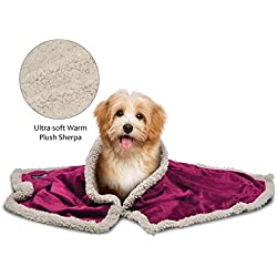 """Pawsse Sherpa Puppy Blanket for Small Dogs Kitten, Warm Flannel Plush Pet Bed Blanket Reversible, 45""""x30"""" Wine/Tan"""