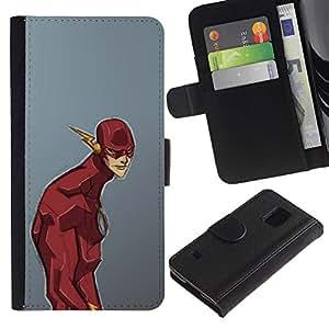 JackGot ( Superhero cómico dibujos animados gris Niños ) Samsung Galaxy S5 V SM-G900 la tarjeta de Crédito Slots PU Funda de cuero Monedero caso cubierta de piel