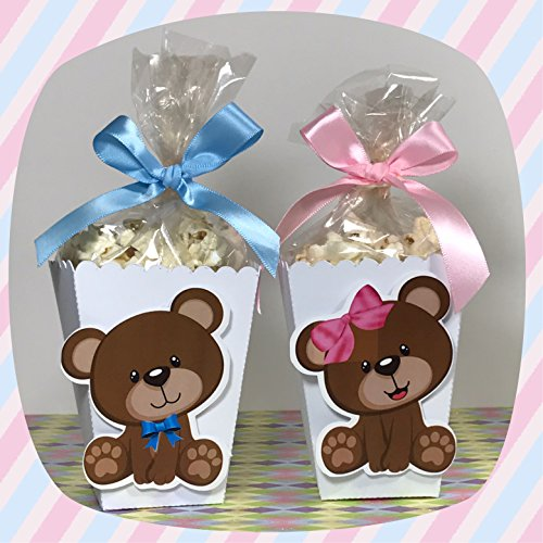 12 Mini Popcorn Box Party Favors, Popcorn Boxes, Baby shower Teddy Bear TREAT BOX from The Party Palace