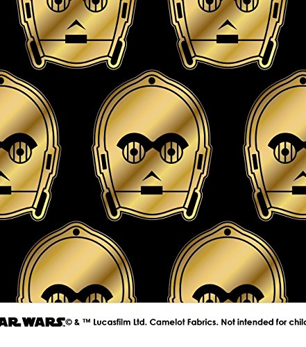 C3PO Metallic Cotton Yabric by the HALF -