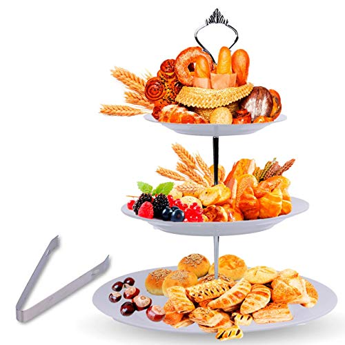 3 Tier Serving Tray Stand – Round Cupcake Dessert Party Platter with BONUS Serving Metal Tongs – Three Tiered Food Holder Display for Weddings, Tea Parties, Birthdays or Holiday Dinners