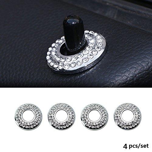 Thor-Ind 4PCS Door Lock Knob Ring Trim for BMW Mini Cooper Countryman Clubman 2007 UP R55 R56 R57 R58 R59 R60 etc Bling Crystal Door Lock Cap Cover Protective Sticker (4pcs